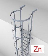 Crynoline Steigleiter aus feuerverzinktem Stahl mit Rückenschutz